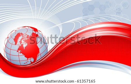 Red globe. America. - stock vector