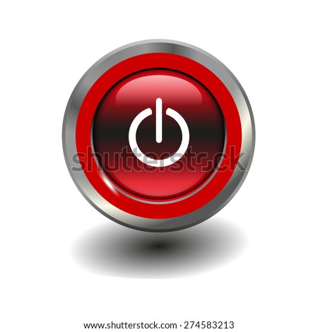 Red glossy button with metallic elements and white icon power on/off, vector design for website - stock vector