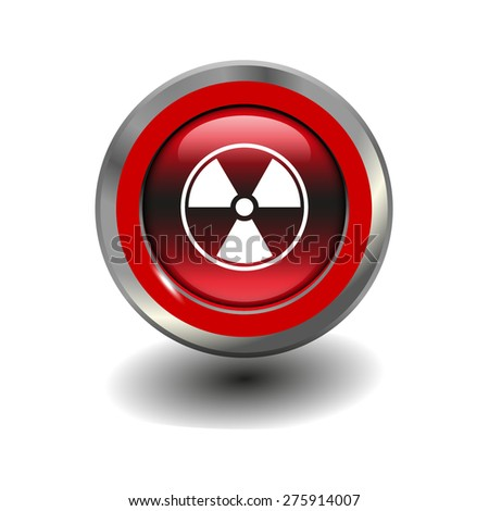 Red glossy button with metallic elements and white icon radiation, vector design for website - stock vector