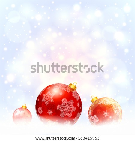 Red glossy Christmas ball with snowflakes on shining snowy background - stock vector