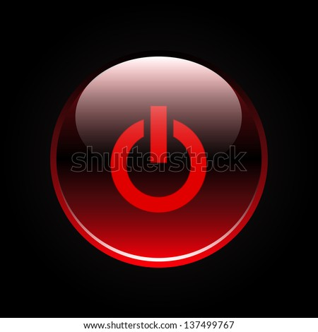 Red glossy power button on black - stock vector
