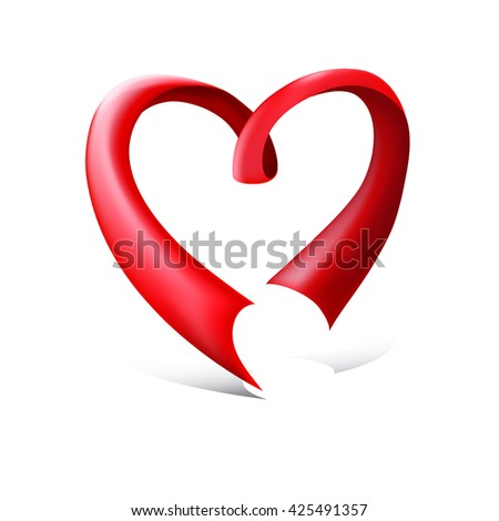 Red glossy ribbon heart. Red ribbon in the shape of heart, isolated on white background. Greeting card for the Valentines day vector background - stock vector
