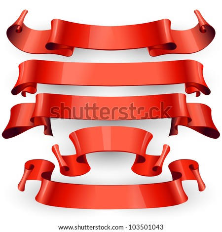 red Glossy vector ribbons on a white background for your design project - stock vector