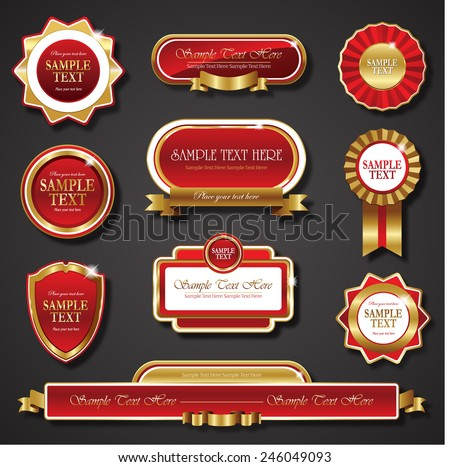 red golden promo stickers quality seals and ribbons - stock vector