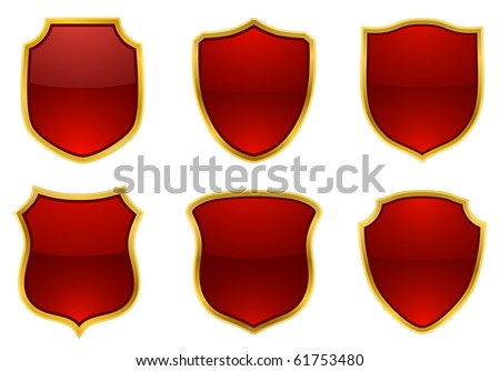 red-golden shields, vector - stock vector