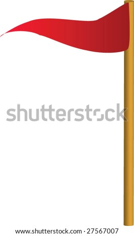 Red golf flag - stock vector