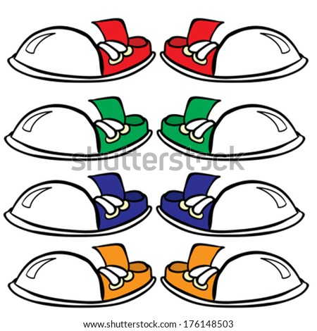 red, green, blue and orange pair of sneakers - stock vector