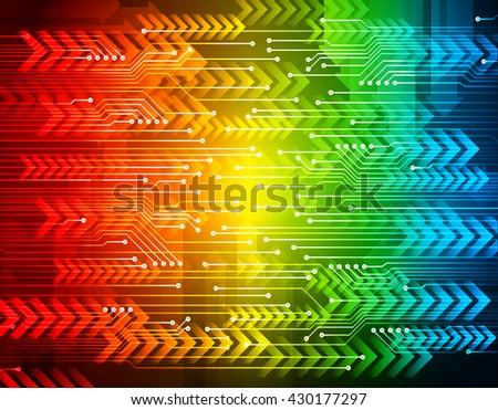 red green blue arrow circuit abstract light hi speed internet technology background illustration, Background conceptual image of digital. Cyber security concept, Cyber data digital Technology - stock vector