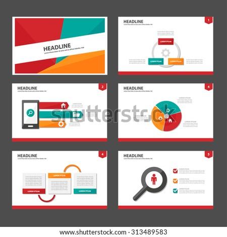 Red green orange Multipurpose Infographic elements and icon presentation flat design set for advertising marketing brochure flyer leaflet - stock vector