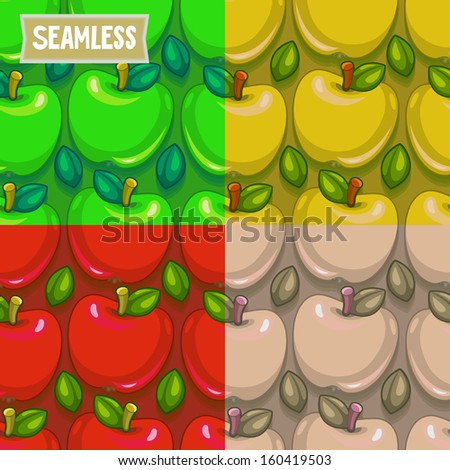 Red, Green, Yellow and Red apple seamless pattern. Vector illustration. - stock vector