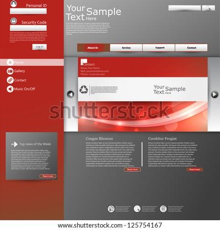 Red grey website design template - stock vector