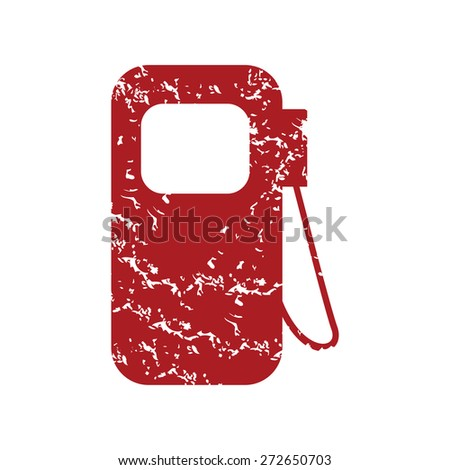 Red grunge gas station logo on a white background. Vector illustration - stock vector