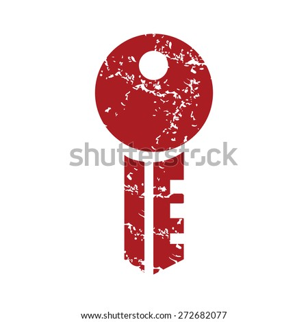 Red grunge key logo on a white background. Vector illustration - stock vector