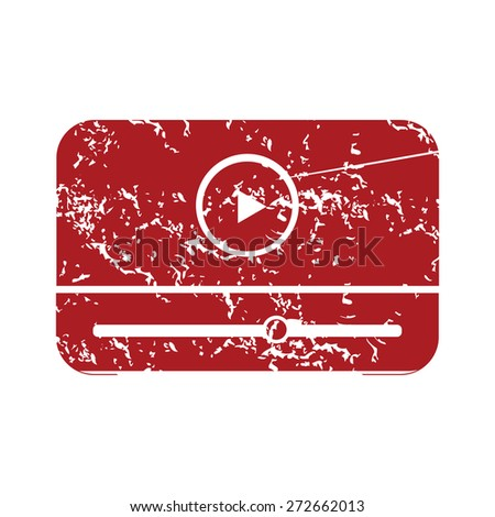 Red grunge media player logo on a white background. Vector illustration - stock vector
