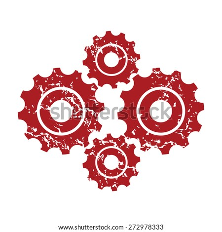 Red grunge new mechanism logo on a white background. Vector illustration - stock vector