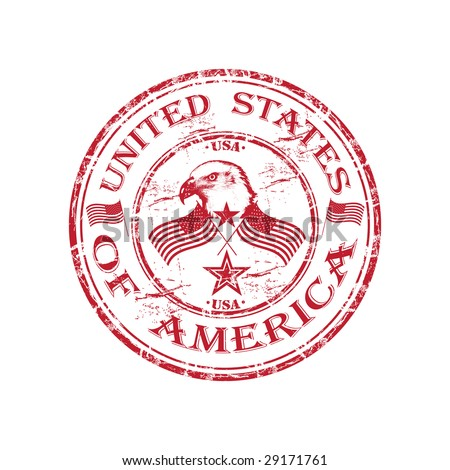 Red grunge rubber stamp with bald eagle, U.S. flags and the name of United States of America written in the middle of the stamp - stock vector