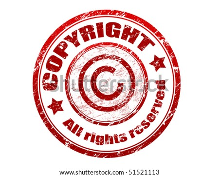 Red grunge rubber stamp with the text copyright all rights reserved written inside the stamp - check for more - stock vector