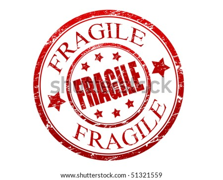 Red grunge rubber stamp with the text fragile written inside the stamp  - more available - stock vector
