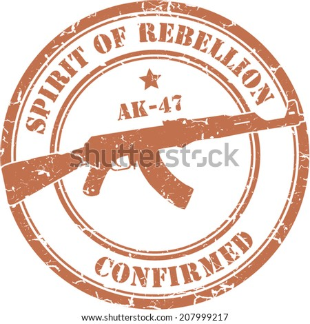 Red grunge stamp. Assault rifle ak-47 - stock vector