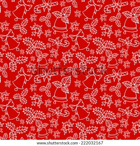 Red hand drawn seamless pattern with christmas decorations and mistletoe - stock vector