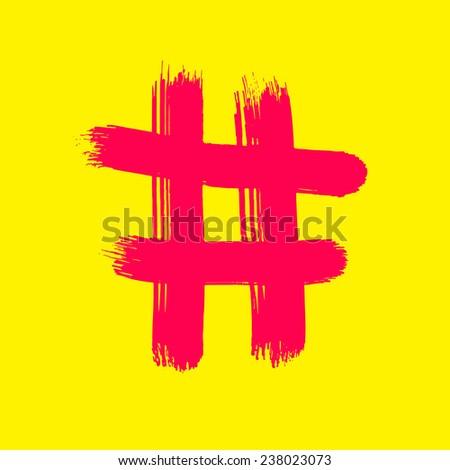 Red Hash sign on yellow - Vector Art handmade brush. - stock vector