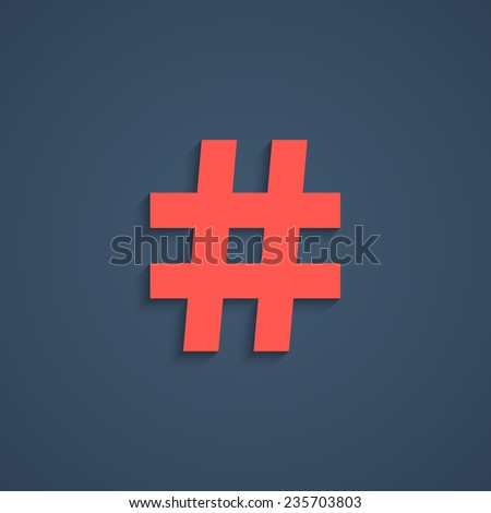 red hashtag icon with short shadow. isolated on stylish dark background. concept of social media, number sign, microblogging and on-line communication. trendy modern logo design vector illustration - stock vector