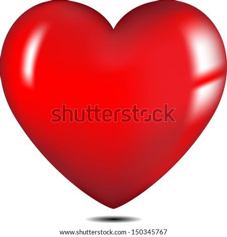 Red heart - stock vector