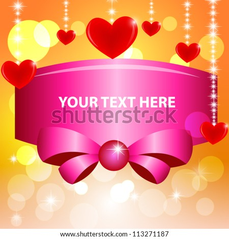 Red heart and bokeh on green background. Vector Illustration - stock vector