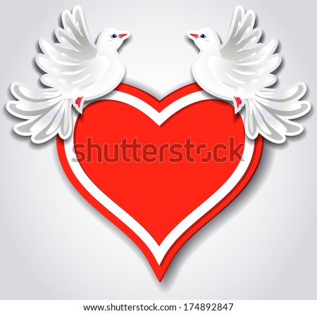 Red heart and two pigeons - stock vector