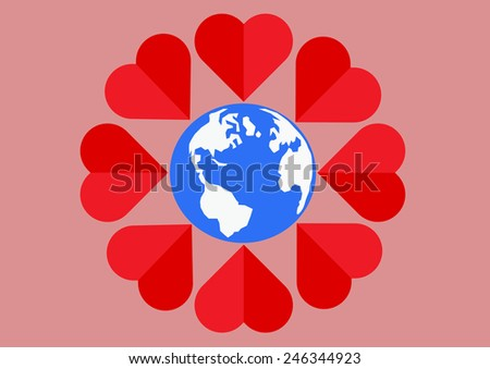 Red heart around the world mean of love all people. Vector illustration - stock vector
