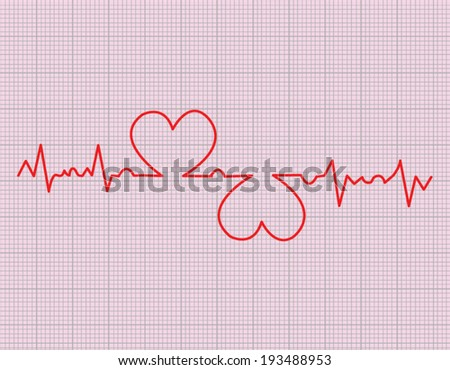 red heart beats cardiogram on pink background - stock vector