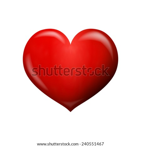 Red heart 3d isolated on white background in vector format - stock vector