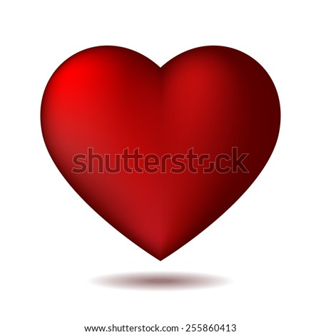 Red heart icon isolated on white. Vector illustration - stock vector