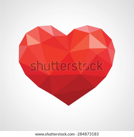 red heart in love polygonal low poly. - stock vector
