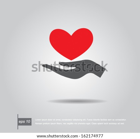 Red heart on hand, vector icon - stock vector