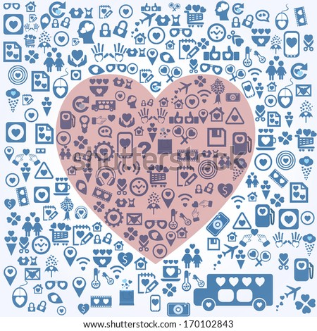 Red heart on icon background - stock vector