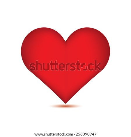 Red heart on white background.vector - stock vector
