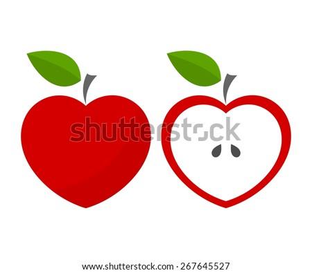 Red heart shaped apples. Vector illustration - stock vector