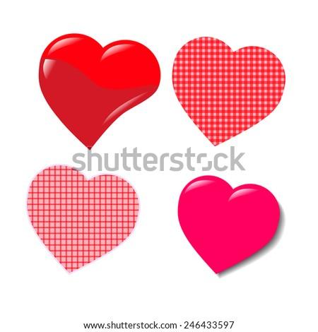 Red heart valentine on white background.Vector. Illustrator. - stock vector