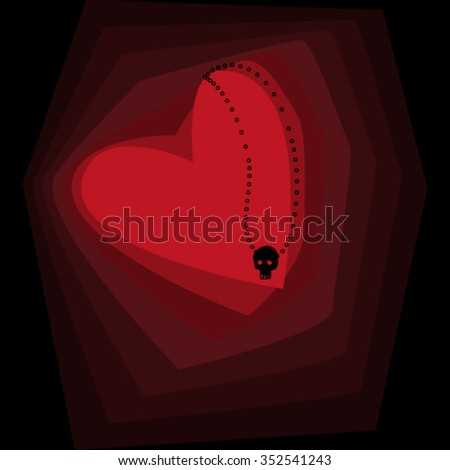 Red heart with a pendant in the form of a skull. Vector.  - stock vector