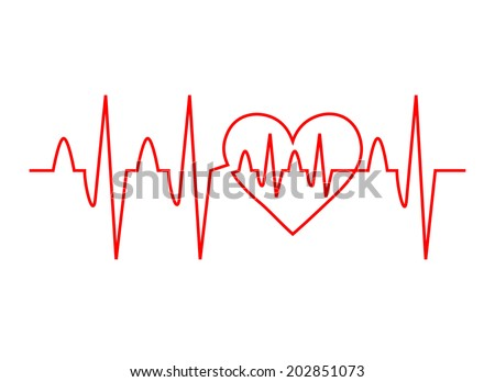 Red heart with ekg - medical design. Life line forming heart shape, vector art image illustration, isolated on white background - stock vector