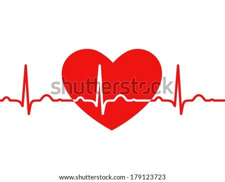 Red heart with ekg on white - medical design - stock vector