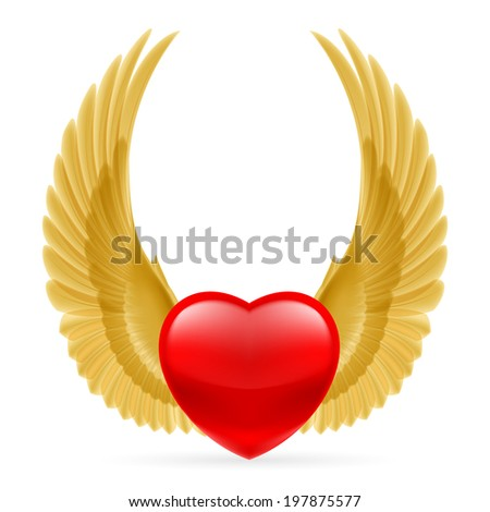 Red heart with golden yellow wings up. - stock vector