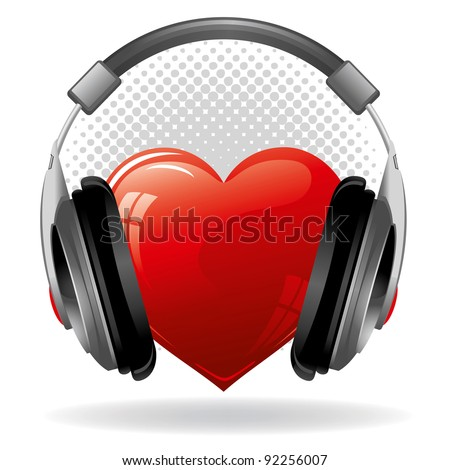 Red heart with headphones. Music concept. - stock vector
