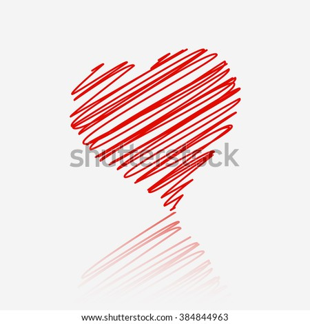 Red heart with reflection on white background. - stock vector
