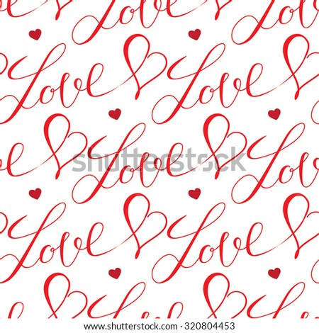 red hearts and letters seamless pattern on white background - stock vector