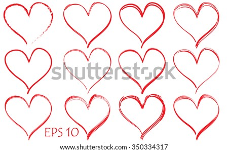 red hearts background - stock vector