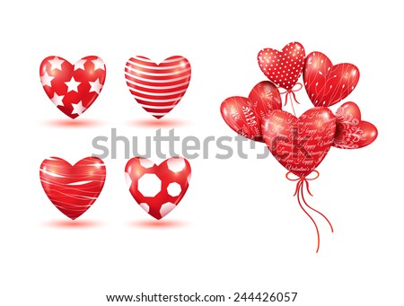Red hearts-balloons. 3D vector background. Set of hearts. - stock vector