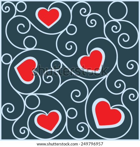 Red hearts for Valentine's Day in square deco pattern from ornamental scrolls - stock vector