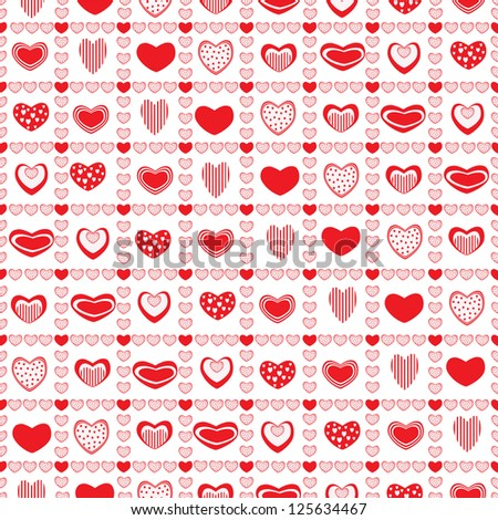 Red hearts in squares of hearts - stock vector